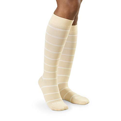 Image of COMRAD | Premium and Stylish Compression Socks for Multipurpose Wear (Almond/Milk Stripe, Large)