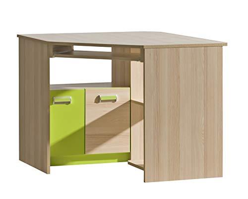 Furniture24 Eckschreibtisch LORENTO L11 Schreibtisch mit Tastaturablage und Schanke Schülerschreibtisch Kinderschreibtisch Computertisch PC-Tisch (Esche Coimbra/Lime Grün)