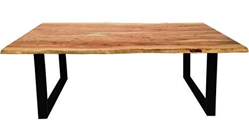Esszimmertisch Salito 200x100 cm aus Akazie-Holz | Kufen-Gestell Schwarz lackiert | Baum-Tisch mit naturbelassener Optik