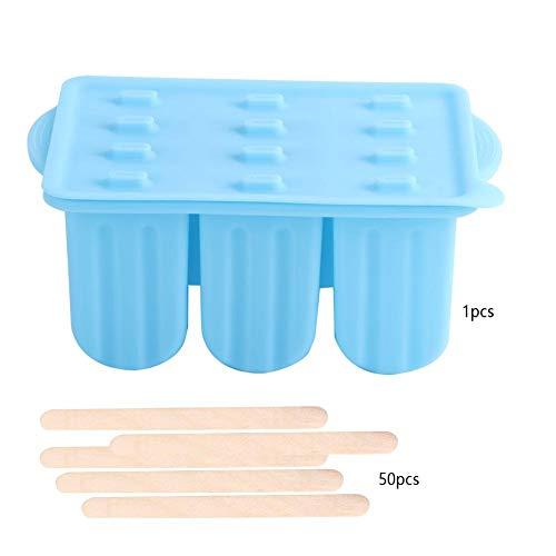Niunion Eiscremeform, 12-Gitter-Silikon-Eiscremehersteller für Lebensmittelqualität mit Deckel und Eisstangen(Blau)