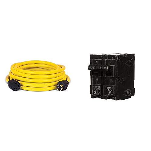 Champion 25-Foot 30-Amp 250-Volt Generator Power Cord for Manual Transfer Switch (L14-30P to L14-30R) & Q230 30-Amp Double Pole Type QP Circuit Breaker
