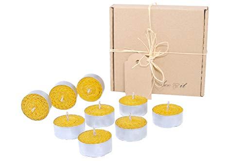 Tea Light Beeswax, 9 Candele Tealight, Candele Cera d'api, 100% Puro Organico, Fatto a Mano, 100% Naturale, aromaterapia, Laminati a Mano