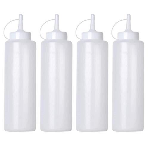 Botellas de salsa, 4 unidades, dispensadores de condimentos de 240 ml, para condimentos, mayonesa, mostaza, salsa picante y aceite de oliva, color blanco