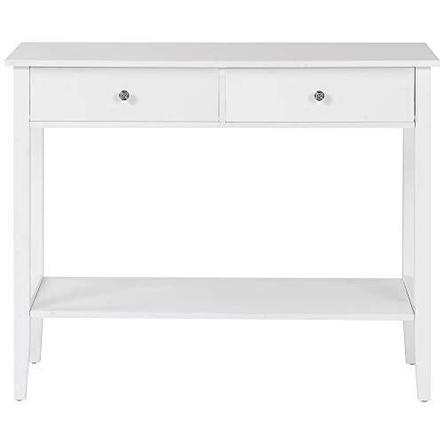 belupai Mesa de consola blanca con dos cajones, mesa de trabajo de estudio blanca con patas de madera de pino para sala de estar, dormitorio, pasillo, escritorio de estudio para sala de estudio