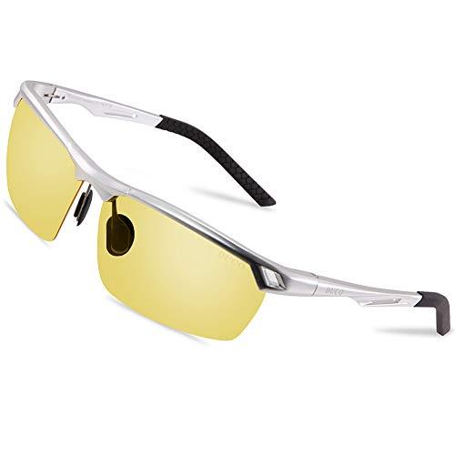 DUCO Nachtsichtbrille Anti-Glanz Fahren Brillen Kontrast-Brille Nachtfahrbrille polarisierte 8550 (Silber Rahmen Gelb Linse)