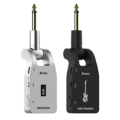 DIGITNOW! 2.4GHZ Sistema di Chitarra Wireless Trasmettitore e Ricevitore con Batteria al litio Ricaricabile per chitarra elettrica, basso, tutti gli strumenti musicali elettrici (nero / argento)