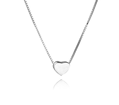 SLUYNZ Genuine 925 Sterling Silver Tiny Love Heart Pendant Necklace for Women Teen Girls Slender Heart Tennis Necklace (A-Silver)