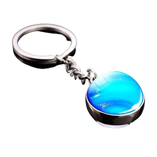 Asotagi - Portachiavi luminoso portatile con sistema solare planetario, con sfere di vetro, regalo per bambini e amici, Nettuna, S