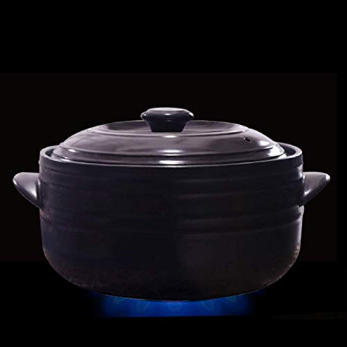 zyl Terracotta Stew Pot Chinese Style Soup Pot Ceramic High Temperature Stone Soup Pot Casseroles Terracotta Cooking Pot Stew Pot with Lid Black-4.5L