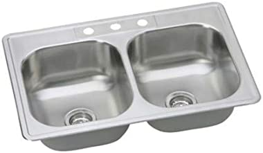 """PROFLO PFSR332263 PROFLO PFSR332263 33"""" Double Basin Drop In Stainless Steel Kitchen Sink with 3 Faucet Holes"""