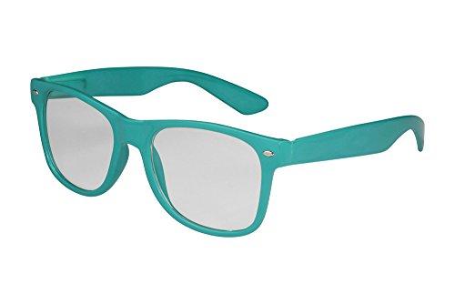 X-CRUZE® 1-027 X07 Nerd Brille ohne Stärke Vintage Retro Style Stil Klarglas Hornbrille Modebrille Unisex Herren Damen Männer Frauen Streberbrille türkis
