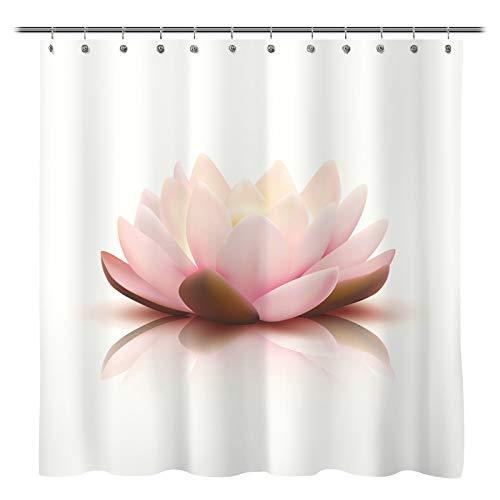 Sunlit Design Zen Style Koi Teich Rosa Lotus Blossom Stoff Duschvorhang Spirituelle Meditation Thema Badezimmer Dekoration Gardinen mit beigem Hintergr&