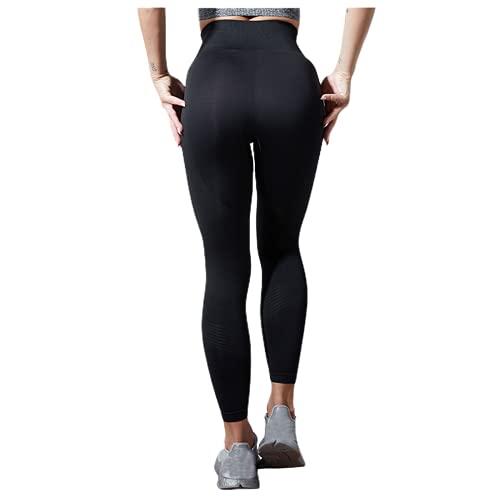QTJY Señoras Ocio Estiramiento Push-up Pantalones de Yoga Fitness Correr Gimnasio Medias Deportivas Pantalones de Yoga de Cintura Alta sin Costuras EL