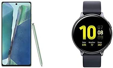Samsung Galaxy Note 20 5G Factory Unlocked Android Cell Phone, US Version, 128GB Storage, Mystic Green & Smart Watch Active 2 (44mm, GPS, Bluetooth) Aqua Black