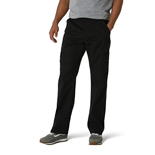 Wrangler Authentics Men's Classic Twill Relaxed Fit Cargo Pant, Black, 32W x 30L