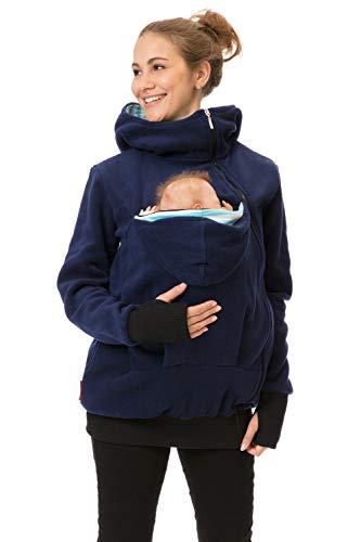 GoFuture Damen Tragejacke für Mama und Baby Känguru Klassiker Fleece mit Hochkragen Viva GF8009XA in Marine mit hellblau-weißen Streifen (XL)