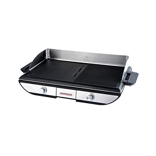 GASTROBACK 42523 Design Tischgrill Advanced Pro BBQ, Zwei getrennt regelbare Grillflächen (1500cm²), 2.300 Watt, 2300, Alu-Druckguss, schwarz, silber