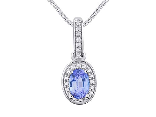 RYLOS Necklaces for Women 925 Sterling Silver Halo Designer Necklace with Gemstone & Genuine Diamonds with 18' Chain 6X4MM Tanzanite December Birthstone Womens Jewelry Silver Necklace For Women