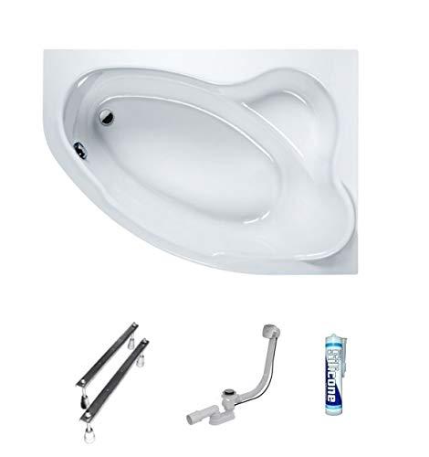 ECOLAM Badewanne Eckwanne Comfort 160x100 cm RECHTS Acryl weiß Ablaufgarnitur Ab- und Überlauf Automatik Füße Silikon