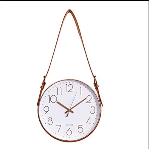 YTRED Reloj de pared con cinturón, silencioso, no hace tictac, de cuarzo, funciona con pilas, redondo, fácil de leer para decoración en el hogar, oficina, reloj silencioso