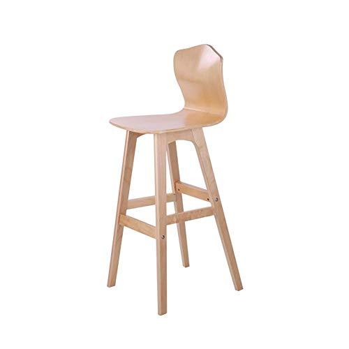 YLDXP Barhocker Massivholz Barhocker Barstuhl Fußstütze mit Rückenlehne Geeignet für Bar Wohnzimmer Schlafzimmer (Color : Brown, Size : 65cm)