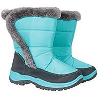 Mountain Warehouse Botas para la Nieve con Adornos de Piel para niños Caribou - a Prueba de Nieve, Forro Polar - para Mantener los pies de Sus niños Calientes en Invierno Verde Agua 34