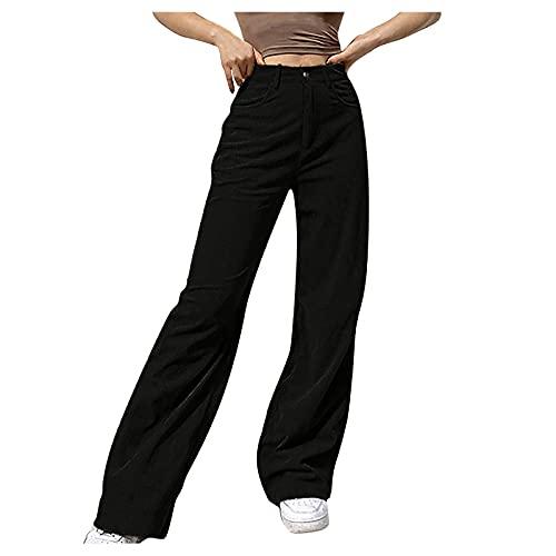 ABsolute Damen Cordhose Y2K Style Vintage Hose High Waist Harajuku Pants Straight Freizeithose E-Girl Schlagjeans Einfarbige Stretchhose mit Geradem Bein Pants