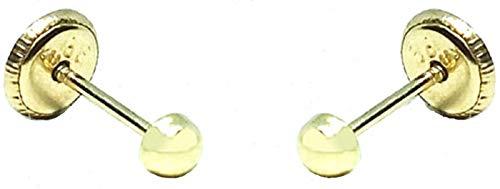 Pendientes de Bebe recién nacida, Niña o mujer, oro 18kts diseño media bola lisa pulida de 3mm, con cierre de máxima seguridad.