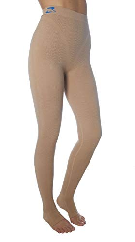 CzSalus Lange Strumpfhose, schlank machende Kompressions-Leggings (25-30 mmHg) Unterstützung Lipödem-Lymphödem POTS (Nude, M)