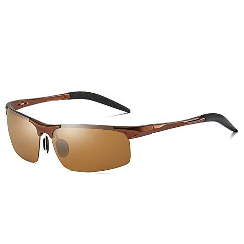 LALB Gafas De Sol, Gafas De Sol Polarizadas para Deportes De Medio Marco De Magnesio De Aluminio para Hombre, Visión Nocturna Día Y Gafas De Sol Polarizadas Nocturnas,K