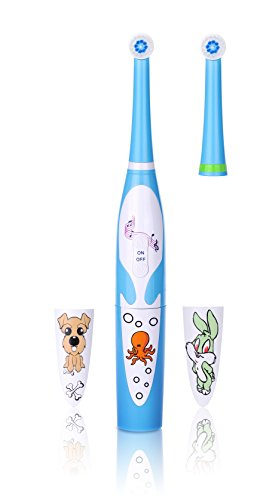 JSB HF128 Kids Electric Power Toothbrush with Music, 2 Minutes Auto Timer & Changeable Cartoon Stickers(Blue)
