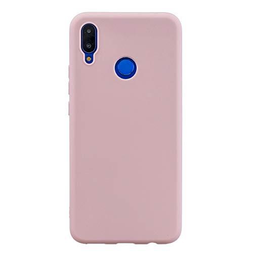 LUSHENG Capa de silicone para Huawei Nova 3i, Huawei Nova 3i Capa macia de TPU à prova de choque, absorção de choque de corpo inteiro [resistente a impressões digitais] - Rosa