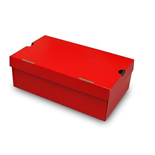 靴箱[N式タイプ] NO3(350×210×120) 赤 50枚セット (シューズボックス ダンボール 段ボール 靴収納ボックス 1足用)