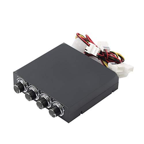 Ba30DEllylelly Caja de PC de 3,5 Pulgadas PC HDD CPU Controlador de Velocidad de Ventilador de 4 Canales con Panel Frontal de refrigeraci¨n de Control de Ventilador de Velocidad de LED Azul