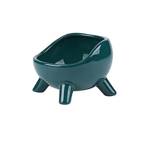 Cuenco de cerámica para Gatos, Cuenco para Perros con Fondo Alto, Protege la Columna Cervical, Evita vuelcos, Verde Oscuro (650 ml)