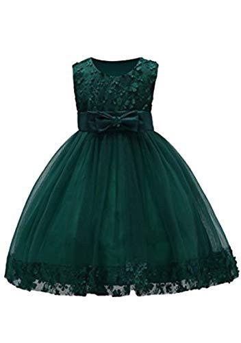 YMING Mädchen Blumenkleid Festlich Brautjungfernkleid Prinzessin Hochzeit Partykleid Tütü Kleid mit Schleife Dunkel Grün 3-4 Jahre Alt