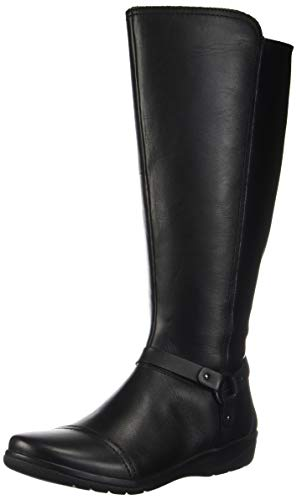 Clarks Women's Cheyn Lindie Wide Calf Knee High Boot, Black Leather/Synthetic Combi, 8 W US