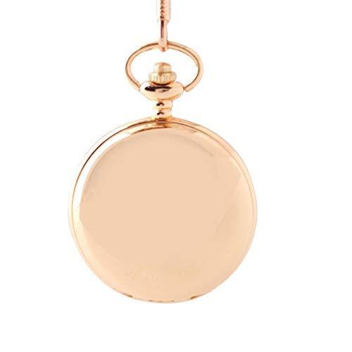 Reloj Bolsillo Luminoso Dos Caras Oro Rosa, Reloj Bolsillo clásico precisión Cuarzo Concha Acero Inoxidable UNIS (Relojes mecánicos para Hombres)