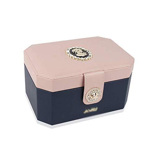 Jewelry Box for Le Donne Monili Jewelry Box Organizzatore Doppio Strato Collana Orecchini Anello Storage Box W04 / 18 (Colore: Rosa + Blu Scuro) Lili ( Color : Pink+Dark Blue )