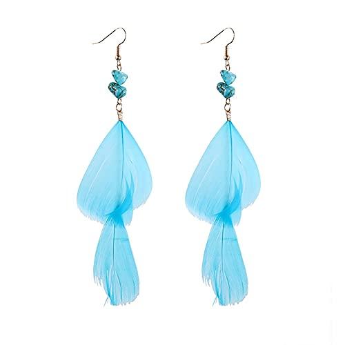 xuyang Pendientes largos de plumas retro bohemios exagerados para mujer tailandia india en forma de gota de diamantes de imitación cadena borla pendientes joyería de boda (color metal: 09-1)