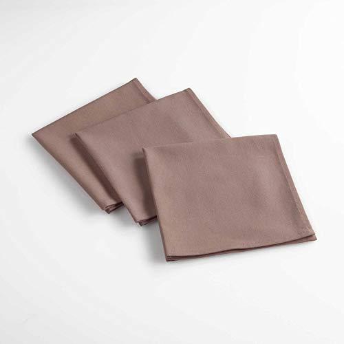 douceur d'intérieur 3 serviettes de table 40x40 cm aubeline taupe