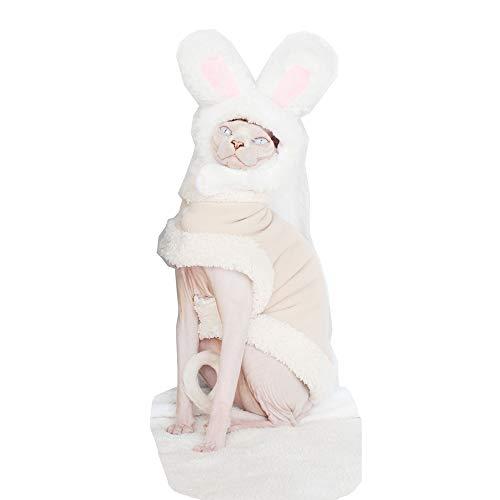 Khemn Designer Pelziger Super-Warmer Katze Pullover mit Double-Dicke Baumwolle Haarlose Katze, Fünf Farben, 3 Farben (M, Weiß)