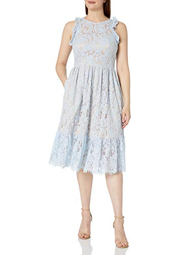 Eliza J Women's Lace Ruffle Midi Dress Light Blue, 12