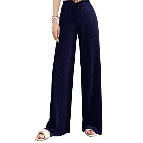 Libella Mujeres Tallas Grandes Llanura Abocinado Palazzo Anchos Pierna Pantalones Pantalones Holgados para Mujer Azul Oscuro