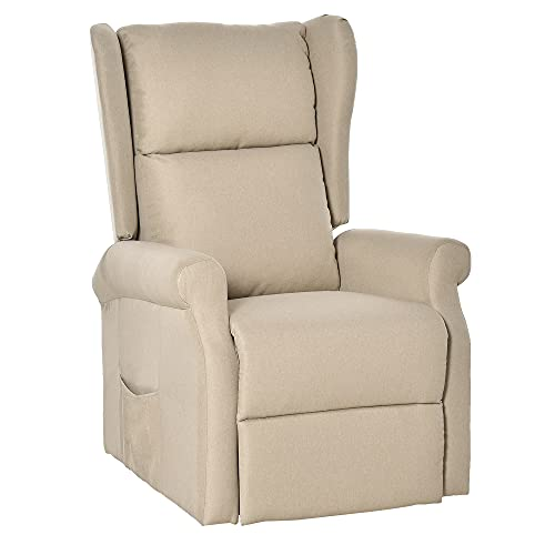 HOMCOM Electric Lift Chair Stand Assist Recliner Armchair Sofa Comfortable Padded Linen Fabric Functional w/Remote Control Versatile Use - Cream White