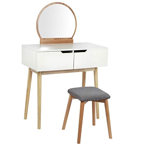 FTVOGUE- Schminktisch mit Hocker, Toilettentisch aus Holz + MDF mit Spiegel und 2 Schubladen, bis 50 kg