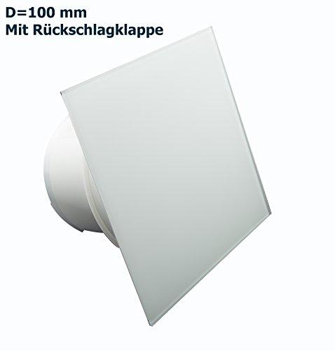 Ventilator Lüfter Badlüfter Mit integrierte Rückschlagklappe Glasfront stark 105 m³/h sehr leise 39 dB Kugellager Hergestellt EU Weiss