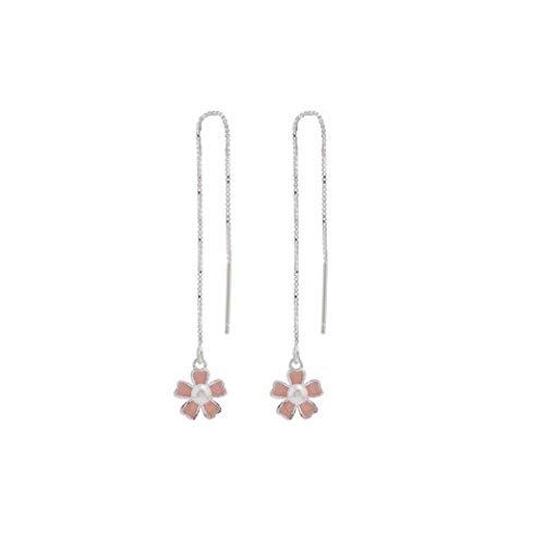 Pendientes Mujer Pendientes De Perlas De Plata 925 Pendientes De Moda De Flores Femeninas Pendientes Largos para Mujer Pendientes De Gota De Línea De Oreja