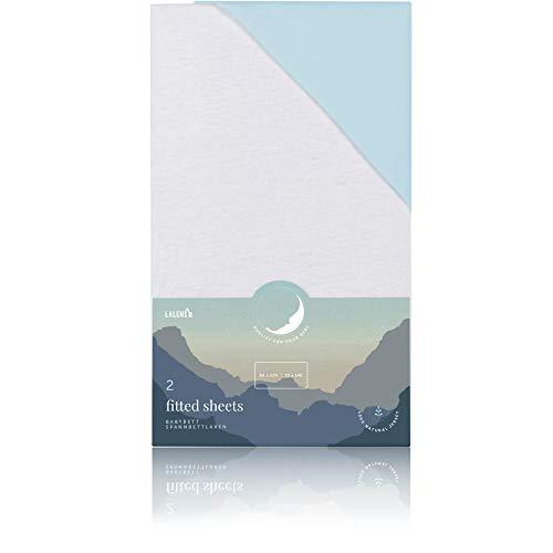 Laleni Spannbettlaken für Babybett Kinderbett - 60x120 bis 70x140 cm, atmungsaktiv, 100% Baumwolle, 2-teilig weiß und blau
