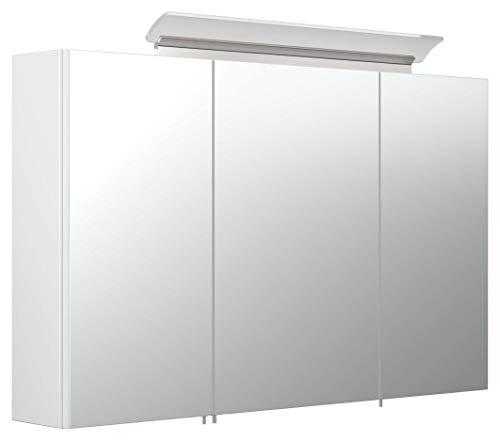 emotion Spiegelschrank 100cm inkl. Design LED-Lampe und Glasböden Weiss Hochglanz